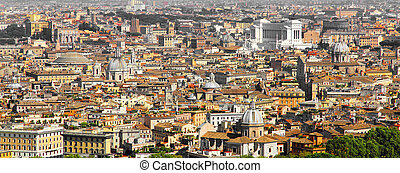panoramic view of the city of Rome from above the dome of...