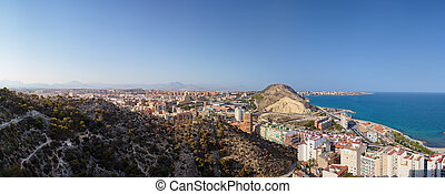Panoramic view of the city of Santa Barbara Castle, the sea and part of the mountain where the fortress.