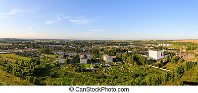 Panoramic view of the city of Yaransk in the central part of Russia during the summer sunrise