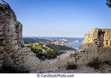 panoramic view of the coast from some ruins