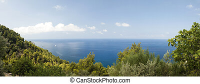 Panoramic view of the coast of Mallorca Spain