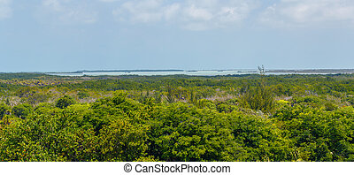 Panoramic view of the coast of the tropical island