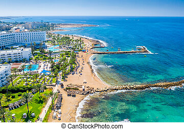 Panoramic view of the coastal resort in Geroskipou area, Paphos. Cyprus