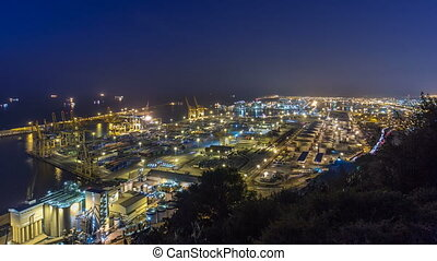 Panoramic view of the container port in Barcelona timelapse, Spain.