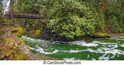 Panoramic view of the Englishman River Falls in Vancouver ...