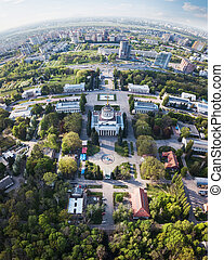 Panoramic view of the exhibition center and the city of Kiev on a spring day,Ukraine. Photo from the drone