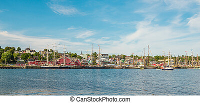 Panoramic view of the famous harbor front of Lunenburg during Tall Ship Festival 2017