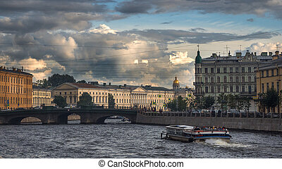 Panoramic view of the Fontanka river embankment in St. Petersburg. Russia