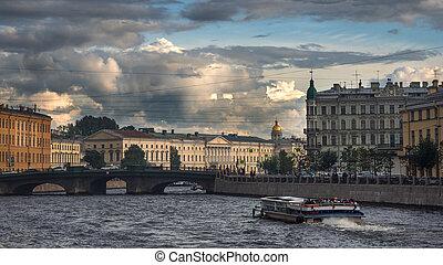 Panoramic view of the Fontanka river embankment in St. Petersburg. Russia