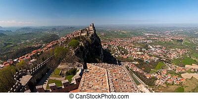 Panoramic view of the fortress of Guaita in San Marino Republic