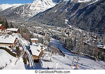 Chamonix in winter - Panoramic view of the French ski resort...