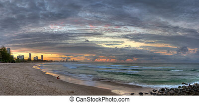 Panoramic view of the Gold Coast from Burleigh Heads, at...