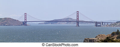 panoramic view of the golden gate bridge in San Francisco, California
