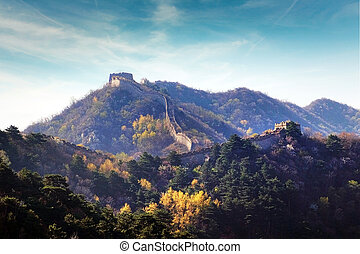 Panoramic view of the Great Wall of China, surrounded by green and yellow vegetation against a blue sky.
