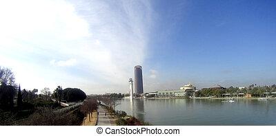 Panoramic view of the Guadalquivir river passing through Sevilla in Spain