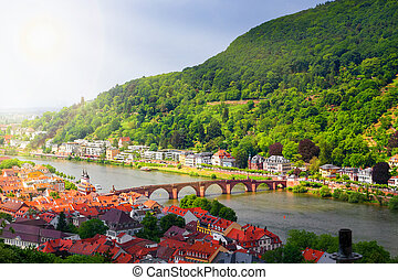 Panoramic view of the Heidelberg in the morning sun