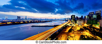 Panoramic view of the highway overpass at dusk in modern city