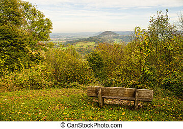 Panoramic view of the hill Hohenstaufen, Germany, to the east