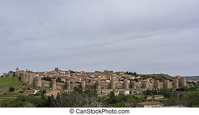Panoramic view of the historic city of Avila, Castilla y ...