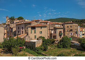 Panoramic view of the houses of the quiet and charming village of Figanieres.