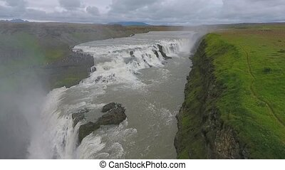 Panoramic view of the huge waterfall in Iceland. Andreev.
