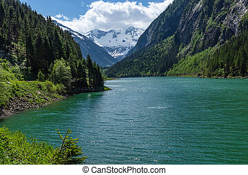 Panoramic view of the Lake Stillup in the Alps, Zillertal Alps Nature Park, Austria, Tyrol
