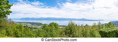 Panoramic view of the Leman Lake from Signal de Bougy park