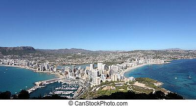 Panoramic view of the Mediterranean resort Calpe, Spain