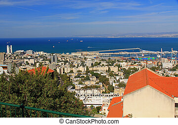 Mediterranean seaport of Haifa Isra - Panoramic view of the...