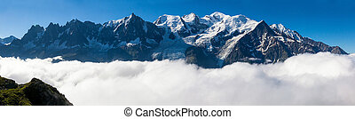 Panoramic view of the Mont Blanc in Chamonix, French Alps - Fran