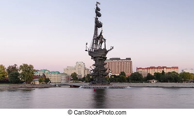 Panoramic view of the monument to Russian emperor Peter the Great timelapse hyperlapse, Moscow, Russia