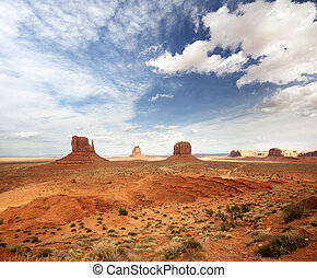 panoramic view of the monument valley under a cloudy sky