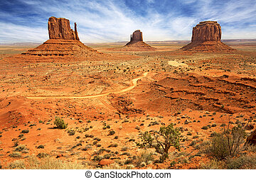 panoramic view of the monument valley, usa