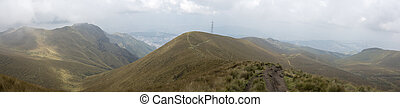 Panoramic view of the mountain and Quito