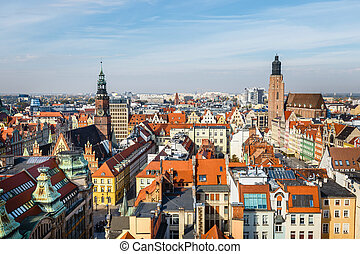 panoramic view of the old city of Wroclaw in Poland, bird eye view of colorful roofs of old town