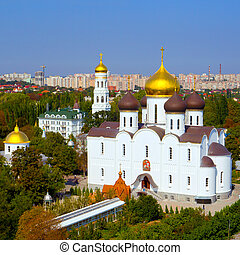 Panoramic view of the Orthodox Cathedral and the city from a...