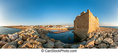 Panoramic view of the Paphos Castle. Paphos District. Cyprus