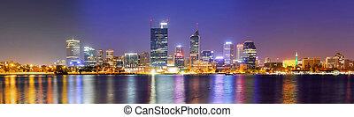 Perth Skyline at Night - Panoramic View of the Perth Skyline...