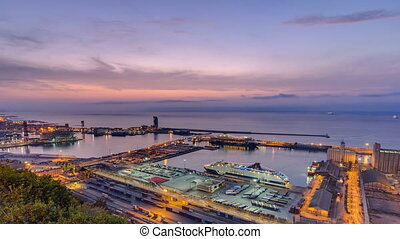 Panoramic view of the port in Barcelona night to day timelapse, Spain.