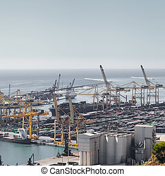Panoramic view of the port in Barcelona, Spain.