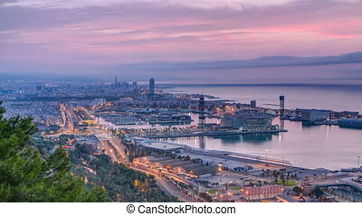 Panoramic view of the port in Barcelona day to night timelapse, Spain.