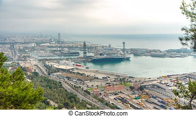 Panoramic view of the port in Barcelona morning timelapse, Spain.