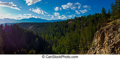 Panoramic view of the Rocky Mountains from Kootenay National Park in British Columbia, Canada