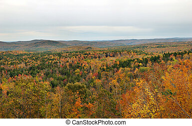 Panoramic view of the scenic Hogback Mountain area in Vermont.