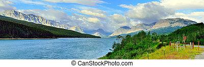 panoramic view of the Sherburne lake in Glacier National Park
