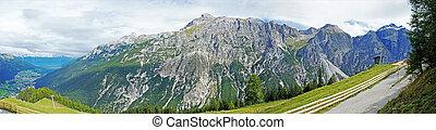 Panoramic view of the Stubai Alps in Tyrol
