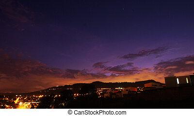 Panoramic view of the sunset near the town of Cumbaya - Ecuador