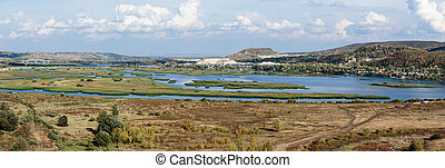 Panoramic view of the valley of the Volga river