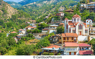 panoramic view of the village Moutoullas. Nicosia district. ...