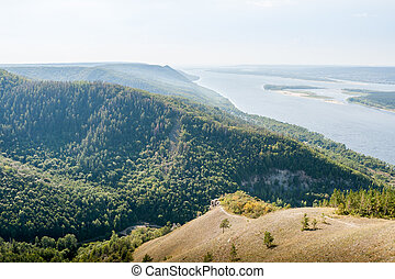 Panoramic view of the Volga river from top of the Zhiguli mountains.